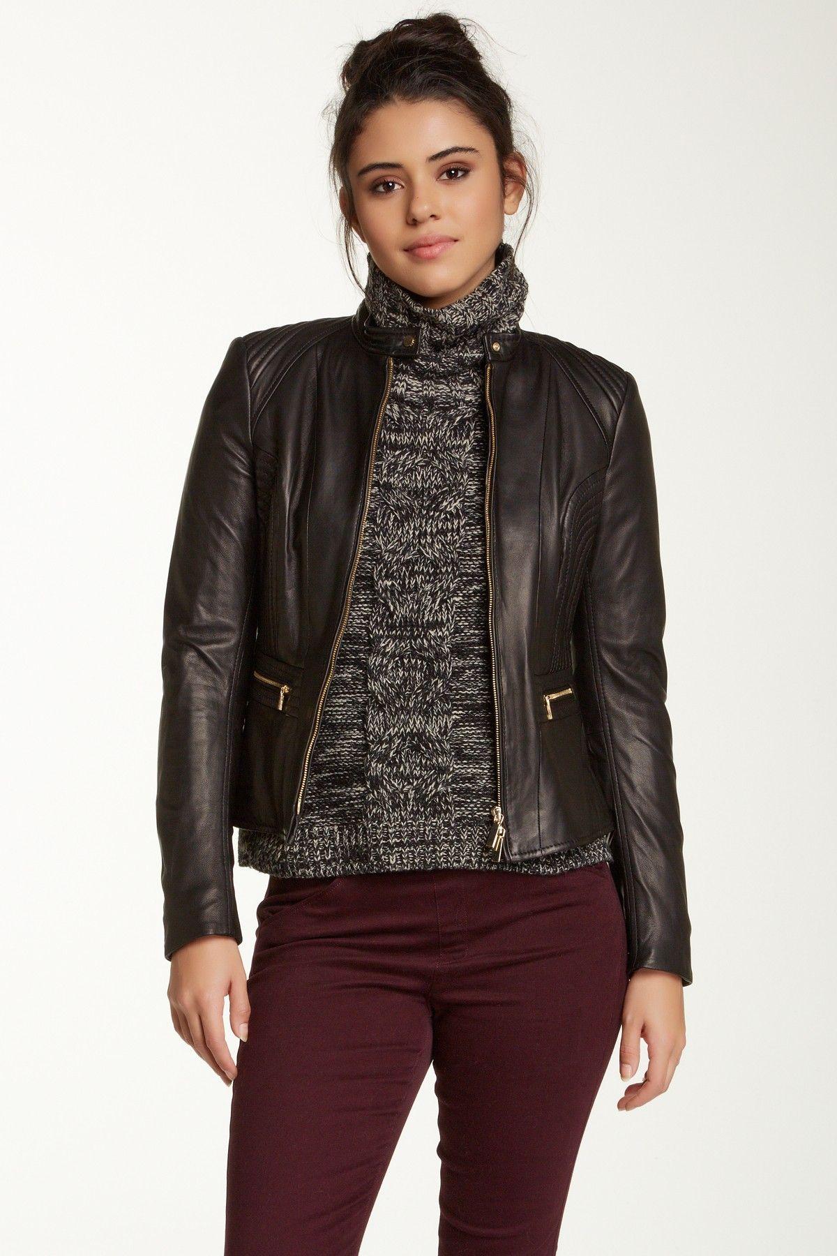 HUGO BOSS ORANGE 'Janassila2' Leather Jacket Leather