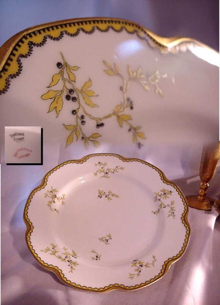 ANTIQUE HAVILAND LIMOGES FRANCE DINNER PLATE ART DECO YELLOW BLACK BERRIES GOLD in Pottery \u0026 Glass & Antique haviland limoges france dinner plate art deco yellow black ...