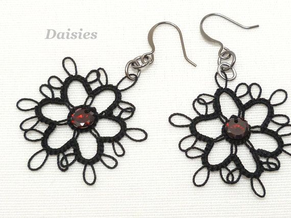 Tatted Lace Flower Earrings Daisies with Cubic by SnappyTatter, $12.00
