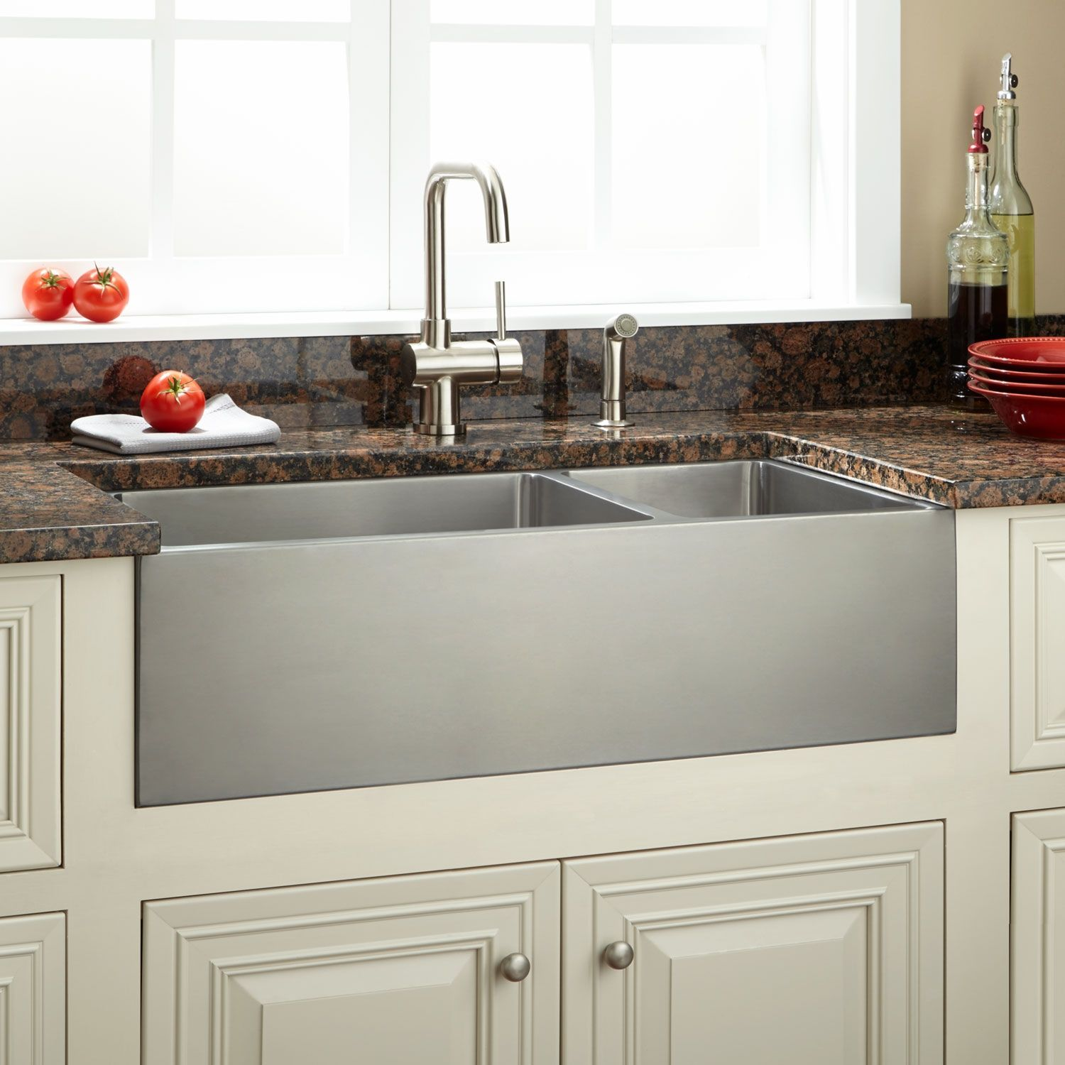 33 Optimum 70 30 Offset Double Bowl Stainless Steel Farmhouse Sink Beveled