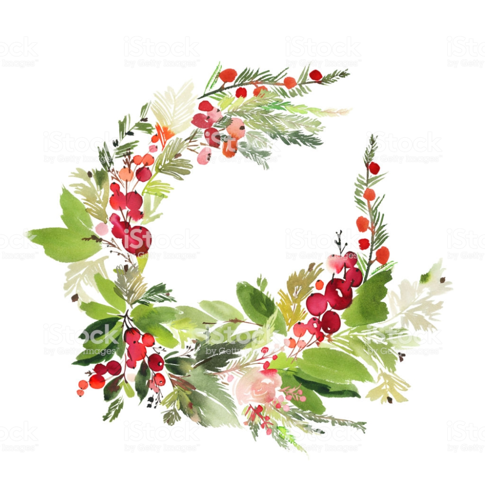 Photo of Christmas wreath with berries watercolor postcard