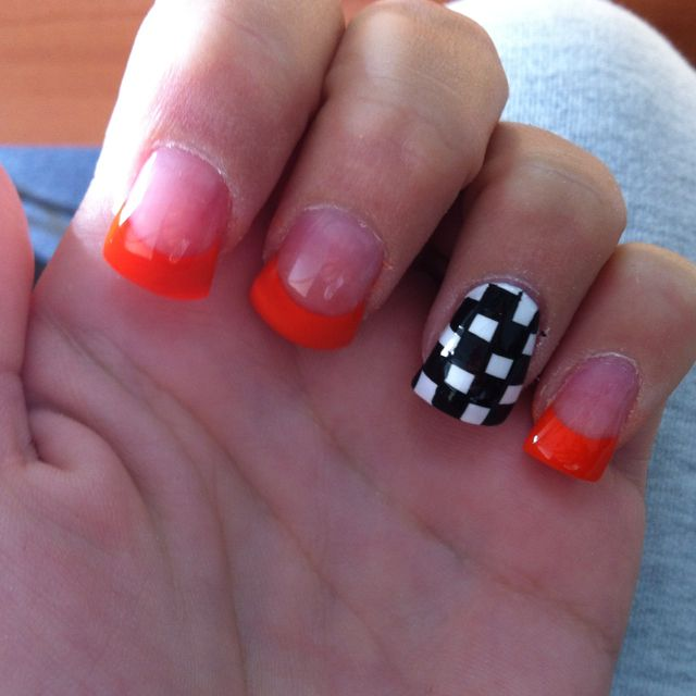 Race Ready Ktm Orange And Checkered Flag Flag Nails Nails Racing Nails