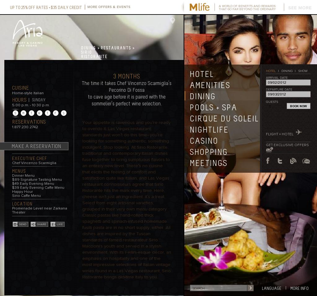 3730 las vegas - Sirio Ristorante Las Vegas At The Aria Official Website Http Www