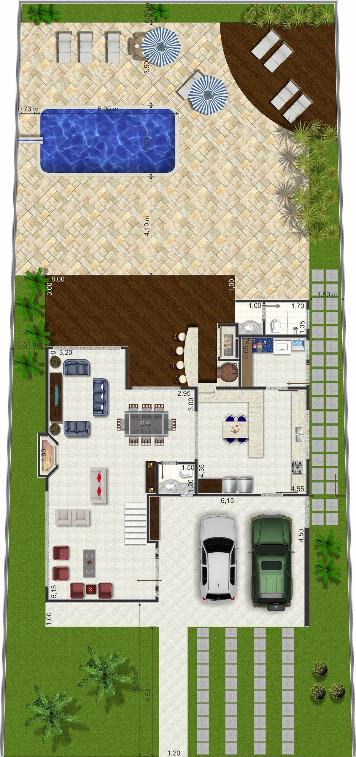 Projeto de sobrado de 3 quartos com 247,75m² | House plan in 2018 ...
