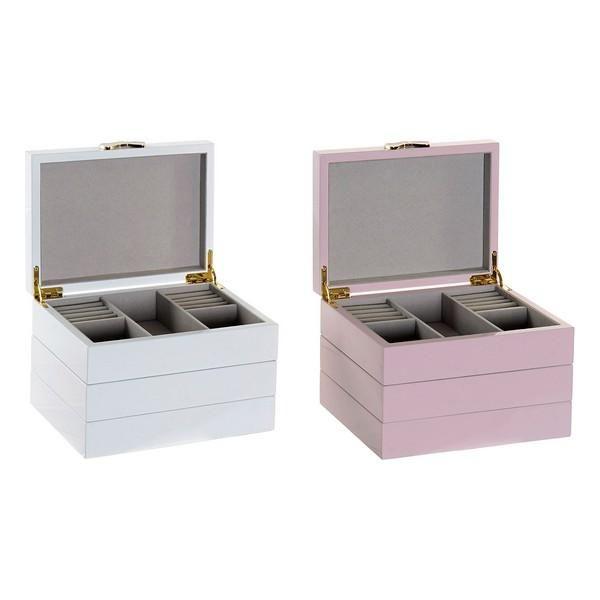 Jewelry box DKD Home Decor Wood Lacquered Romantic (2 pcs)