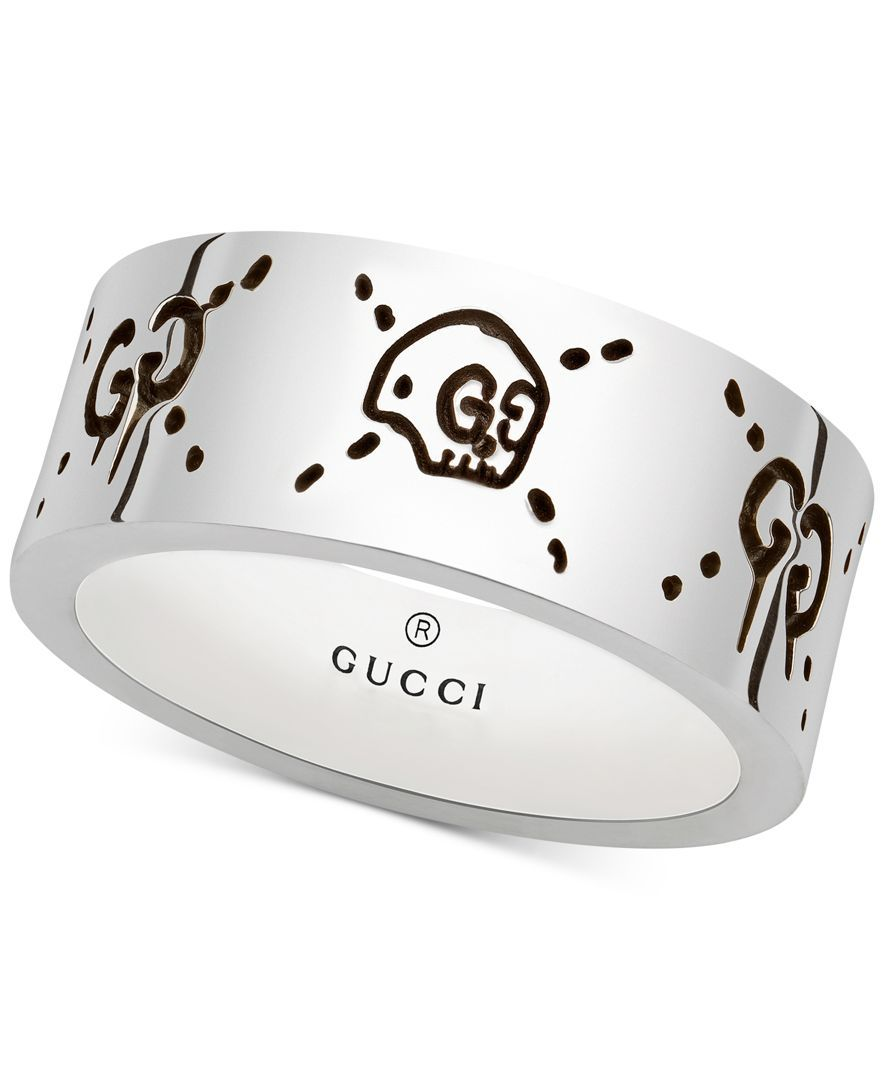Gucci Men\u0027s Gucci Ghost Sterling Silver Ring YBC455318001020