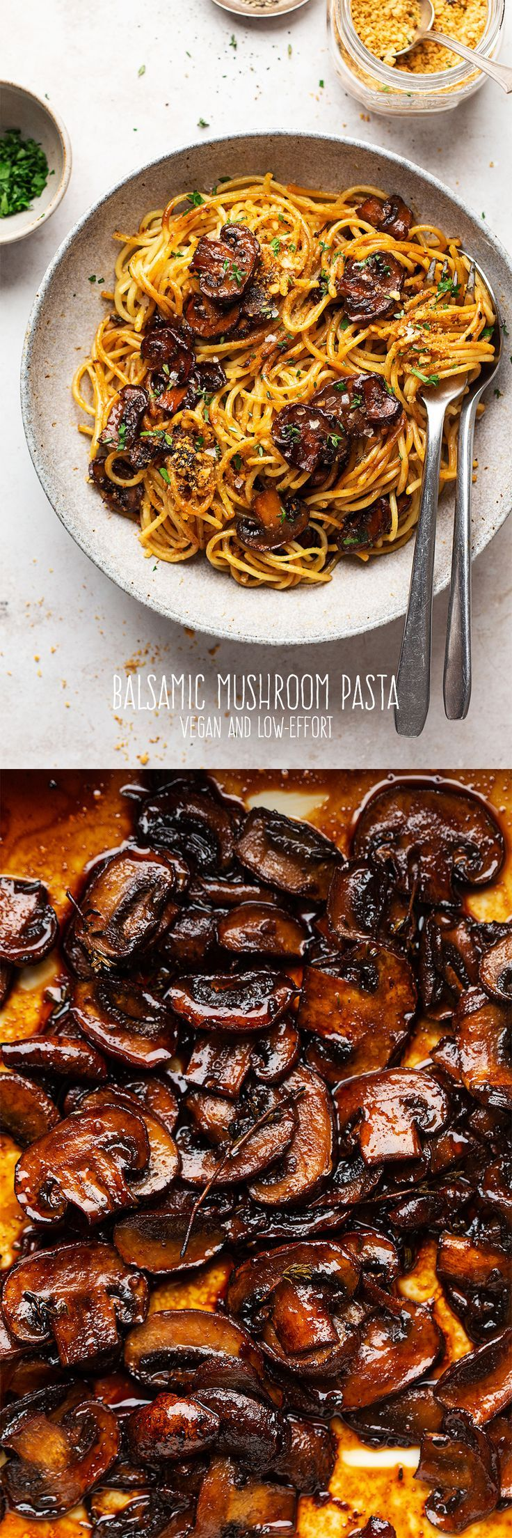 Vegan balsamic mushroom pasta Lazy Cat Kitchen Recipe