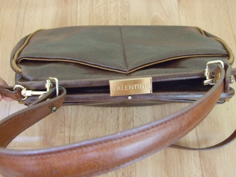 Vintage Valentino By Mario Valentino Designer Handbag Brown Genuine Leather Bag Rare Vintage Handbag Vintage Accessory Designer Bag Vintage Valentino Genuine Leather Bags Valentino Designer