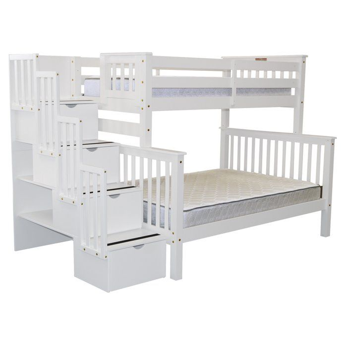 Stairway Twin Over Full Bunk Bed With Storage Jazzy S Bedroom