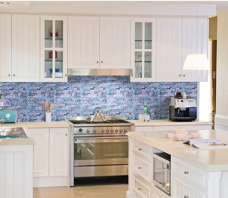 White Kitchen With Blue Tile Backsplash Google Search Kitchen Tiles Backsplash Blue Backsplash Kitchen Kitchen Backsplash Photos