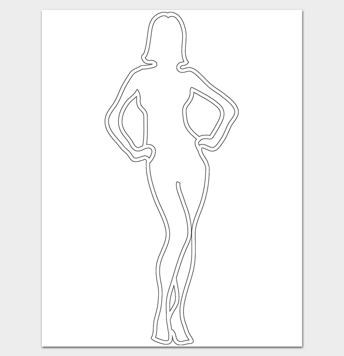 Woman Body Outline Template Printables Printable Worksheets Paper