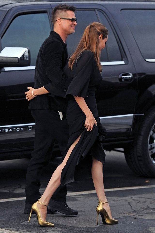 3.02.14  Brad Pitt and Angelina Jolie, in head to toe Saint Laurent S13, at Film Independent Spirit Awards in Santa Monica