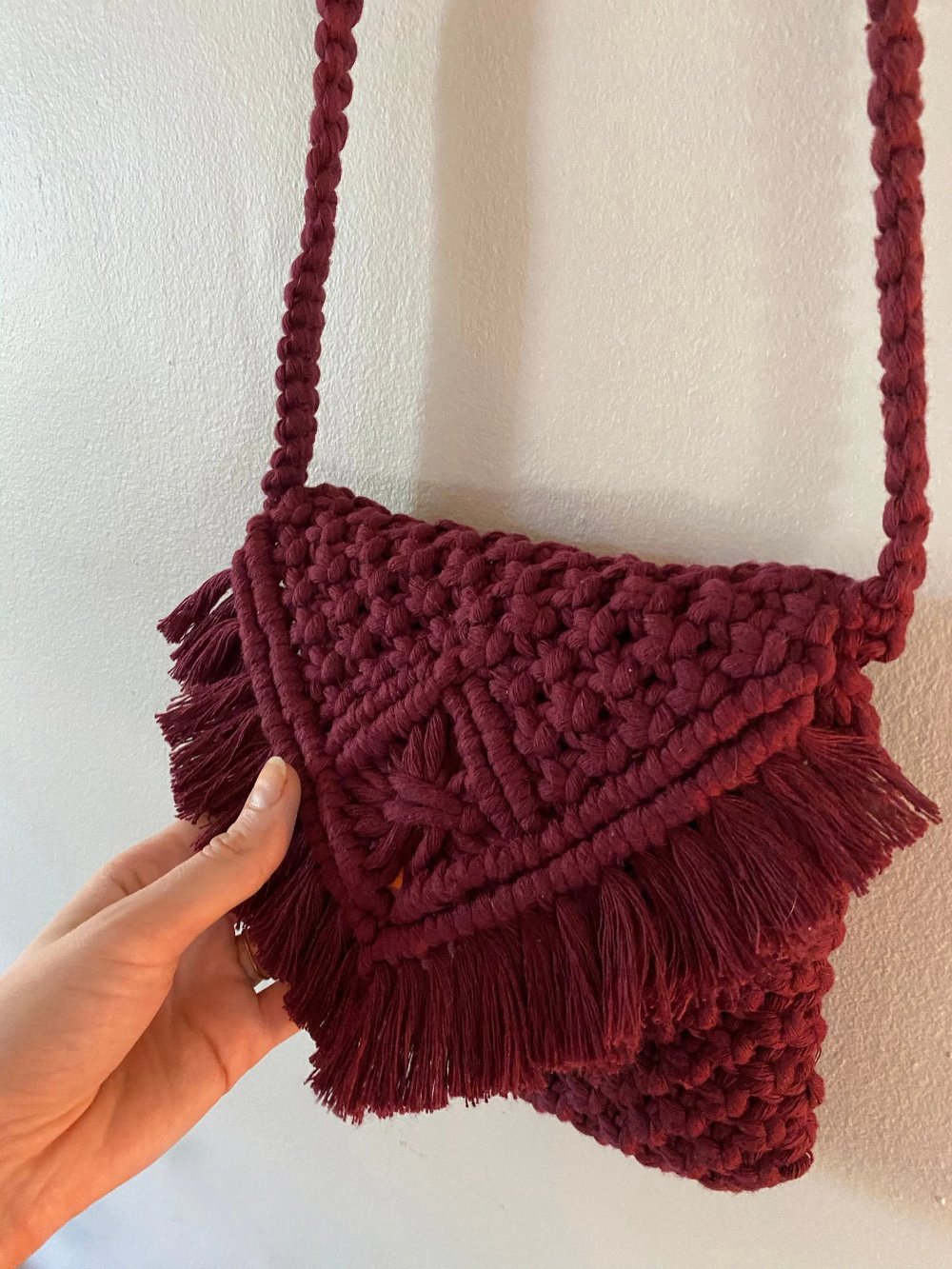 Macrame Bag purple fringe bag