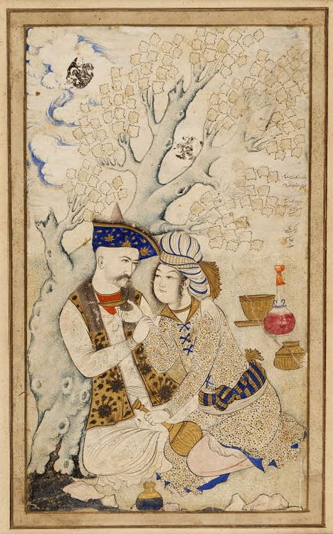 """Shah Abbas I of Persia, embracing his wine boy. The poem reads """"May life grant all that you desire from three lips, those of your lover, the river, and the cup."""" (1571-1629)"""