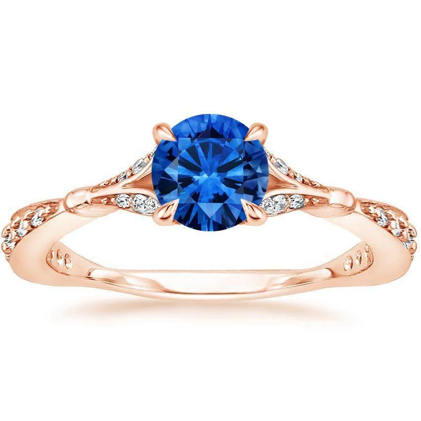 Blue Sapphire Zinnia Engagement Ring - 14K Rose Gold