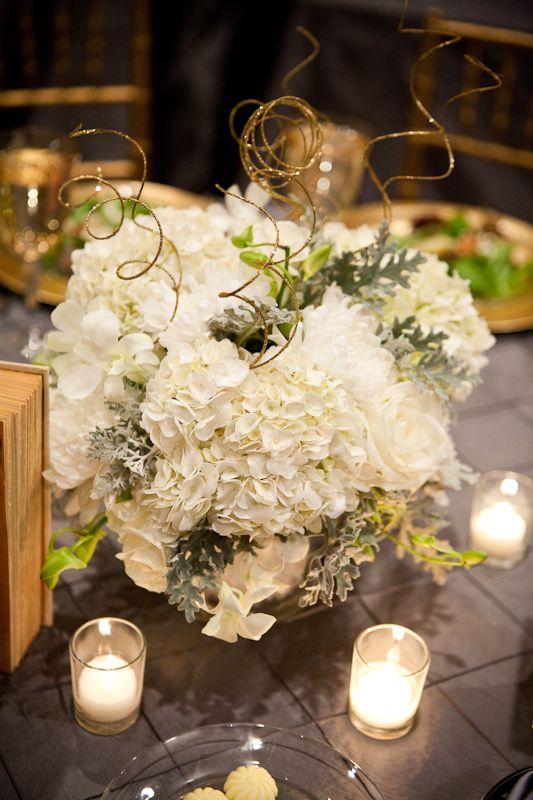 Winter wedding reception table centerpieces