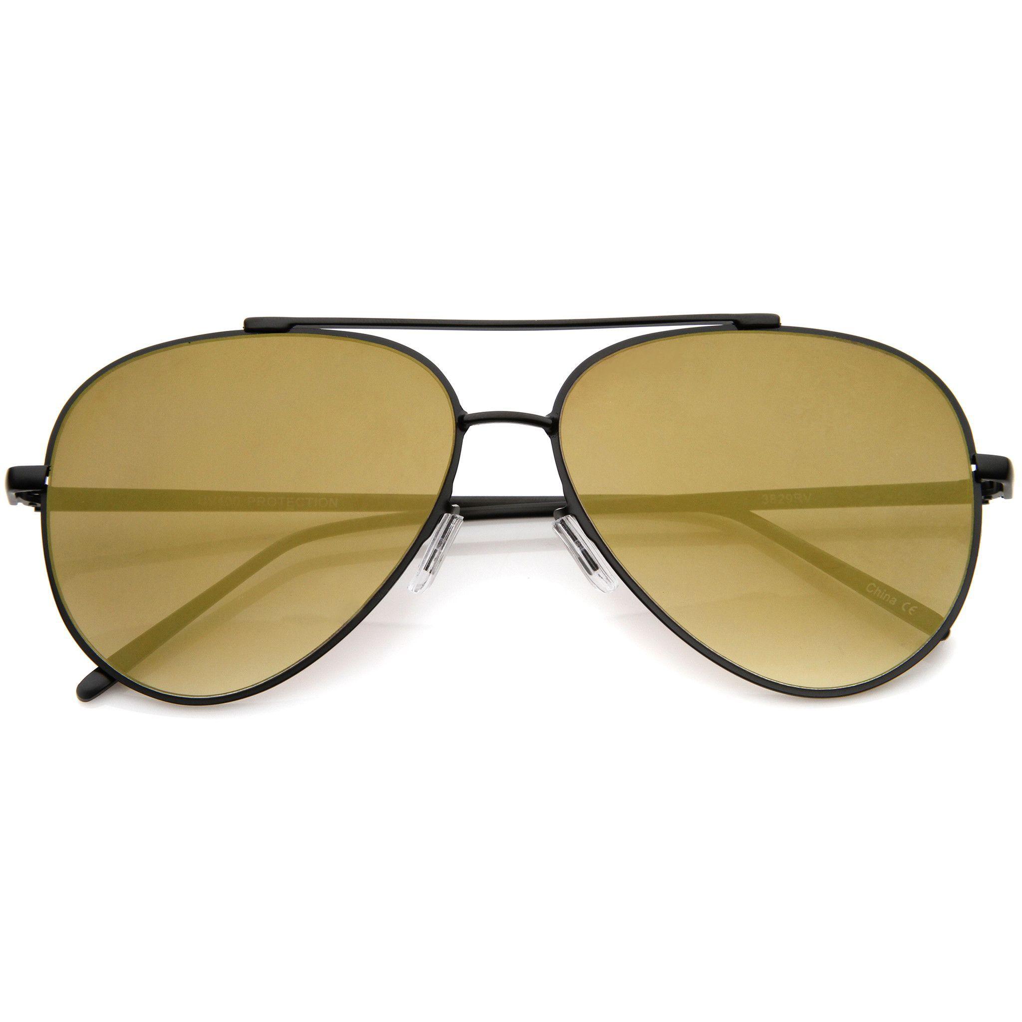 Modern Rimless Mirrored Flat Lens Aviator Sunglasses A230