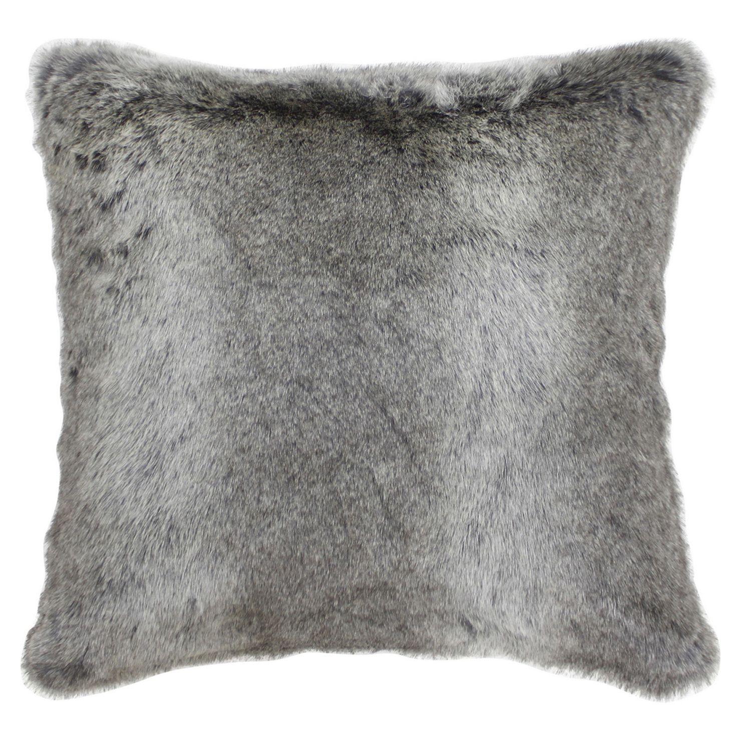 Arctic Wolf Faux Fur Cushion, Grey Grey throw pillows