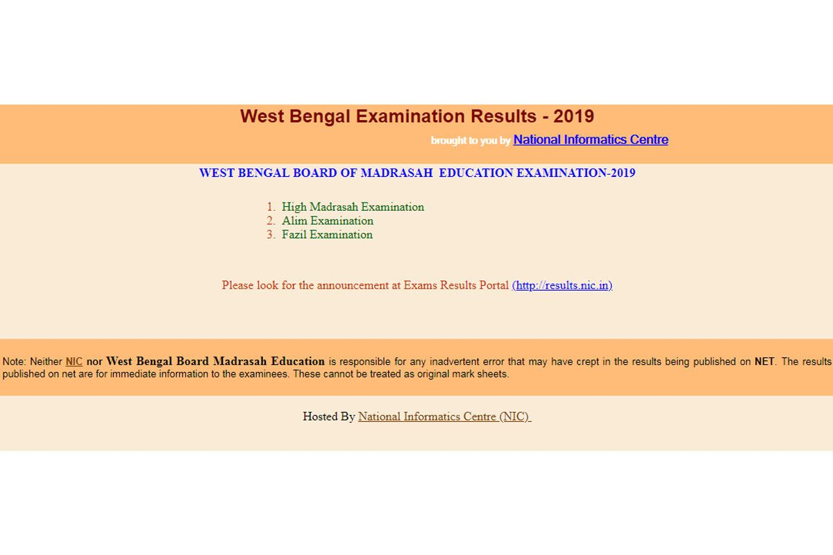 West Bengal Madrasah Result 2019 Direct Link Check West Bengal Madrasah Result For High Madrasah Alim And Fazil Exam On Wbresults Nic In The Statesman Examination Board Madrasah Examination Results