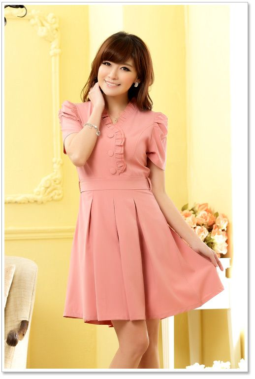 Wholesale Office Lady Japanese Dress Y9804 Pink Japanese Dress Y9804 Pink Yoco