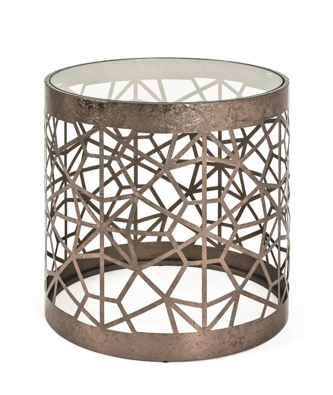 Bronze Beistelltisch Mit Glasplatte Beistelltische Beistelltisch Couchtisch Rund