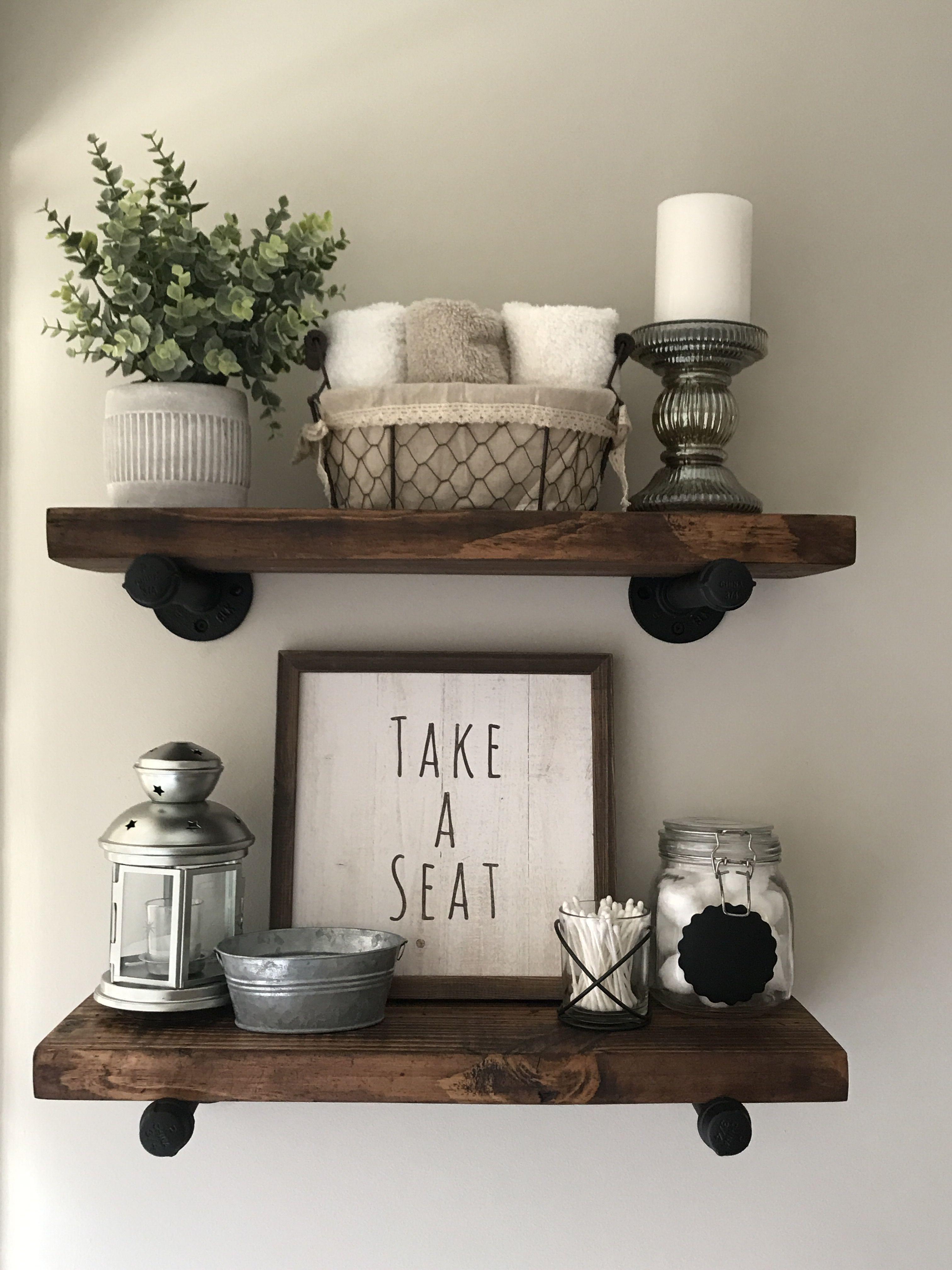 My DIY shelves ️ Small bathroom decor, Farmhouse