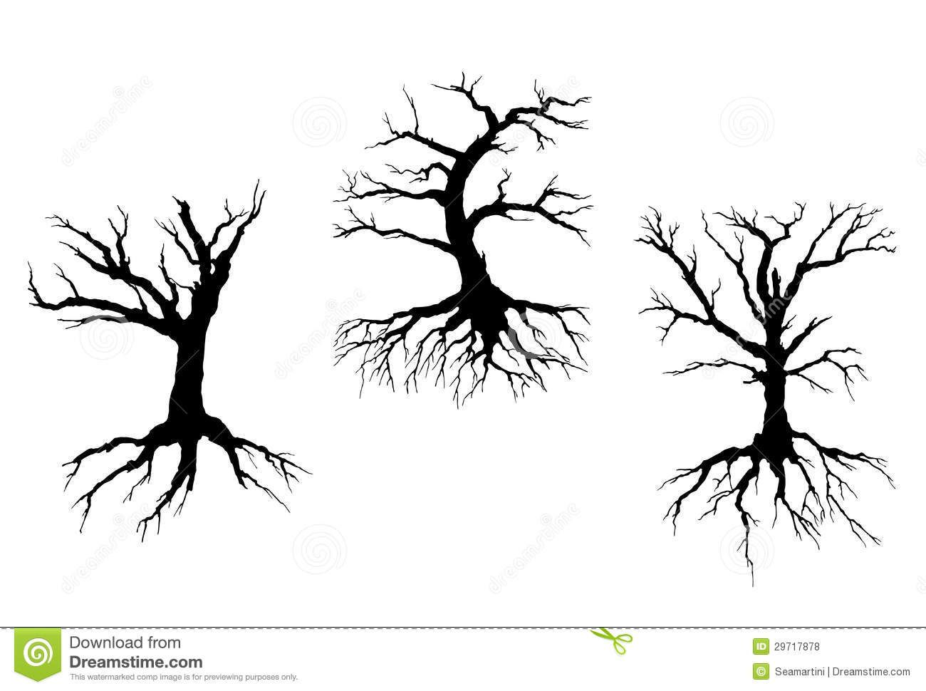 Bare Tree Drawing With Roots Dead trees with stem and