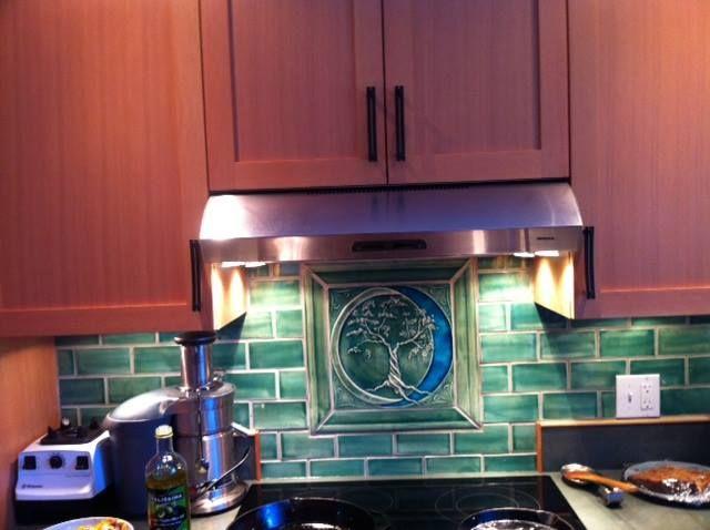 Copper Green Kitchen backsplash by pistrucciartworks.com | Art tile ...