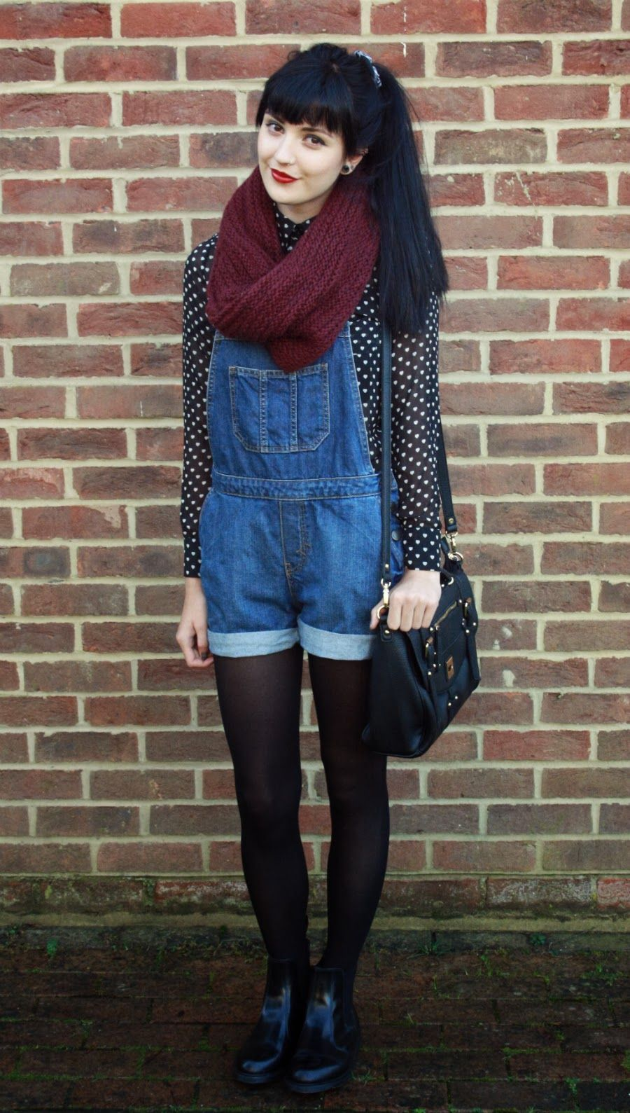 dotted heart print top with overall shorts i