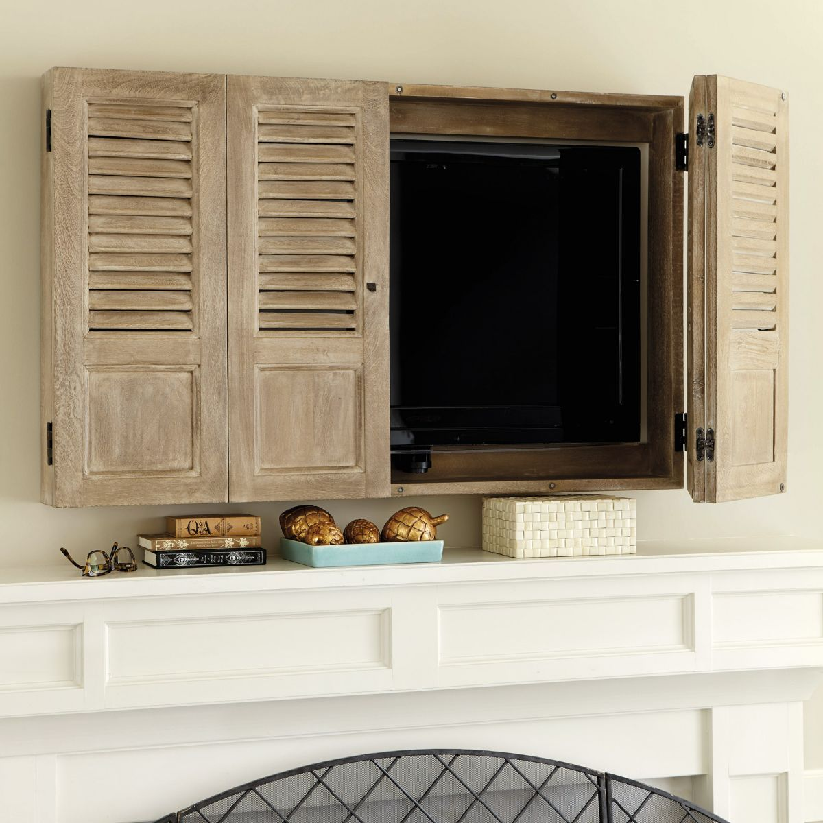 Shutter tv wall cabinet for the home pinterest tv for Wall mounted tv enclosure