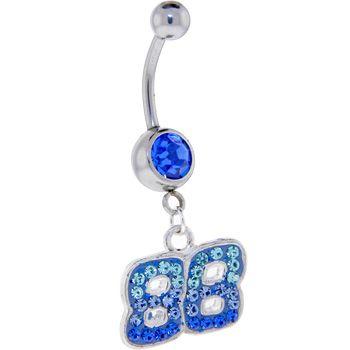 Blue Gem 88 Cubic Zirconia Dangle Belly Ring