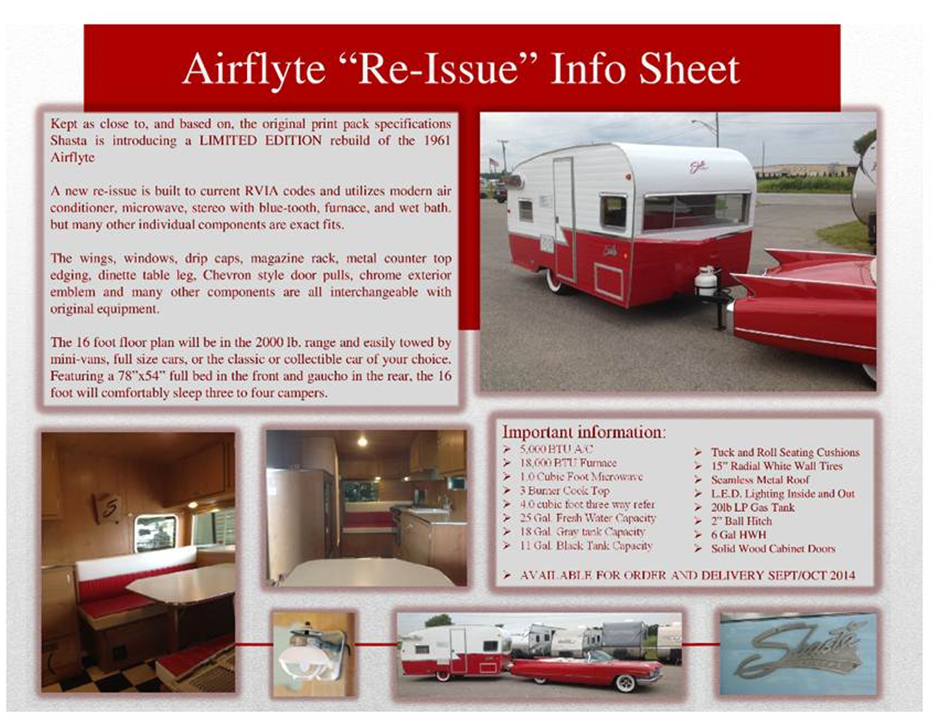 Call Today And Reserve Your 2015 Shasta Remake Of The 1961 Airflyte Taking Deposits To Vintage Camper Now TravelCamp Florida Dealer