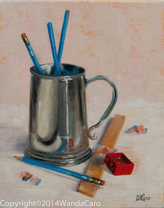 Pewter Mug W Pan Am Pencils Wood Ruler 8x10 Original Oil