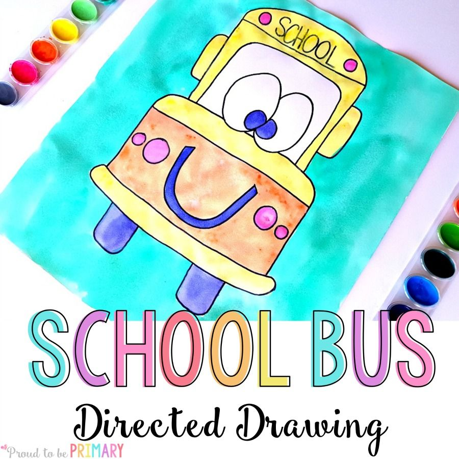 To School Bus Directed Drawing Art Activity For Kids With Easy Step By Step Instructions That You Can Download For Free To Use In Your Classroom Today