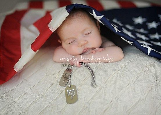 Newborn photo idea prop pose for military family flag prop dog tag prop