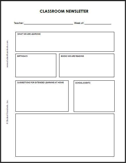 blank classroom newsletter for teachers and students teaching