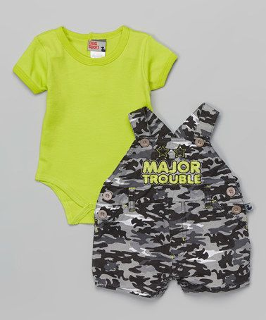 $11.99 marked down from $24! Green Bodysuit & Gray Camo 'Major Trouble' Shortalls - Infant by Duck Duck Goose #baby #boy #infant #camoflauge #patriotic #service #sale #army #marines #funny #zulilyfinds