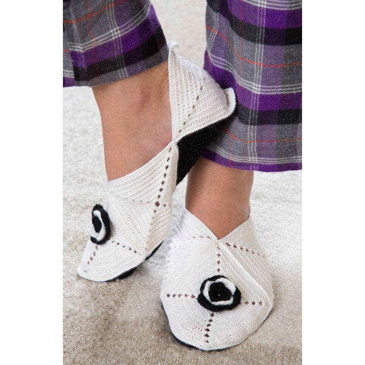 Slippers-a-Posey in Red Heart Sport Socks - LW3459EN - Downloadable ...
