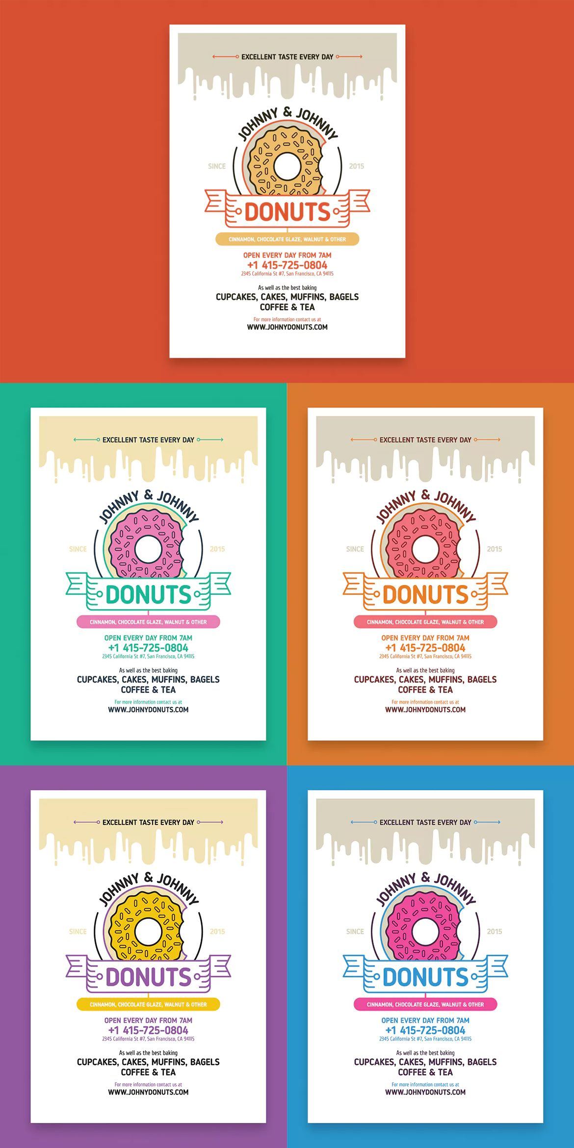 donuts poster template eps a2 | poster templates | pinterest, Powerpoint templates