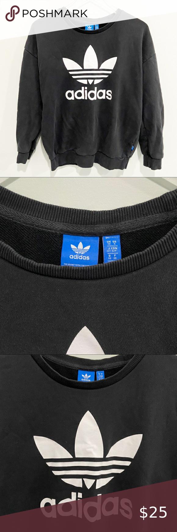 Adidas Trefoil Crew Neck Pullover Sweatshirt Black Black Sweatshirts Adidas Trefoil Black Pullovers [ 1740 x 580 Pixel ]