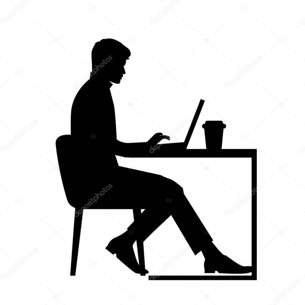 Black Silhouette Of A Man Sitting Behind A Computer Icon Vector Working Man With Coffee Workplace Concept Stud Computer Icon Black Silhouette Silhouette Man