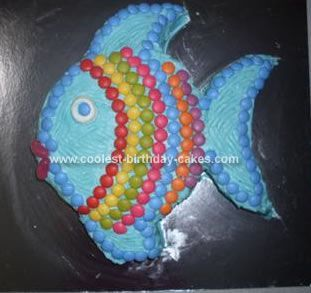 Coolest Rainbow Fish Birthday Cake Fish birthday cakes Rainbow