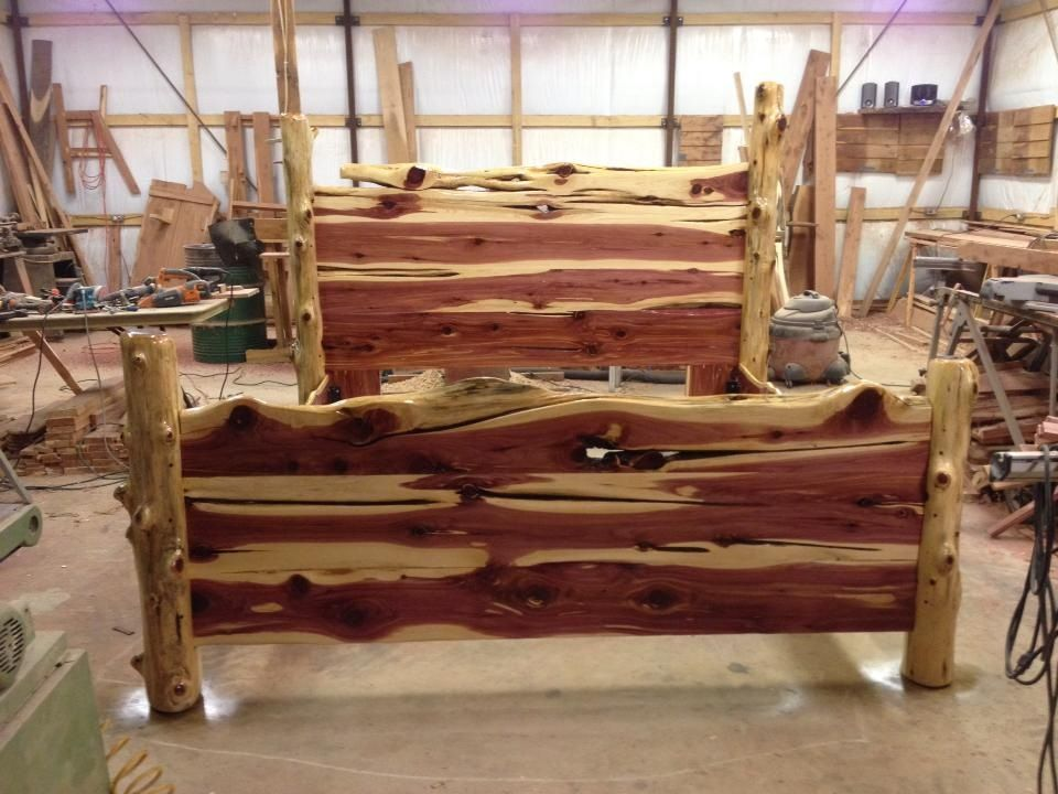 Rustic Cedar Bed More Than Wood Sawmill Pinterest Log Furniture Woods And Logs