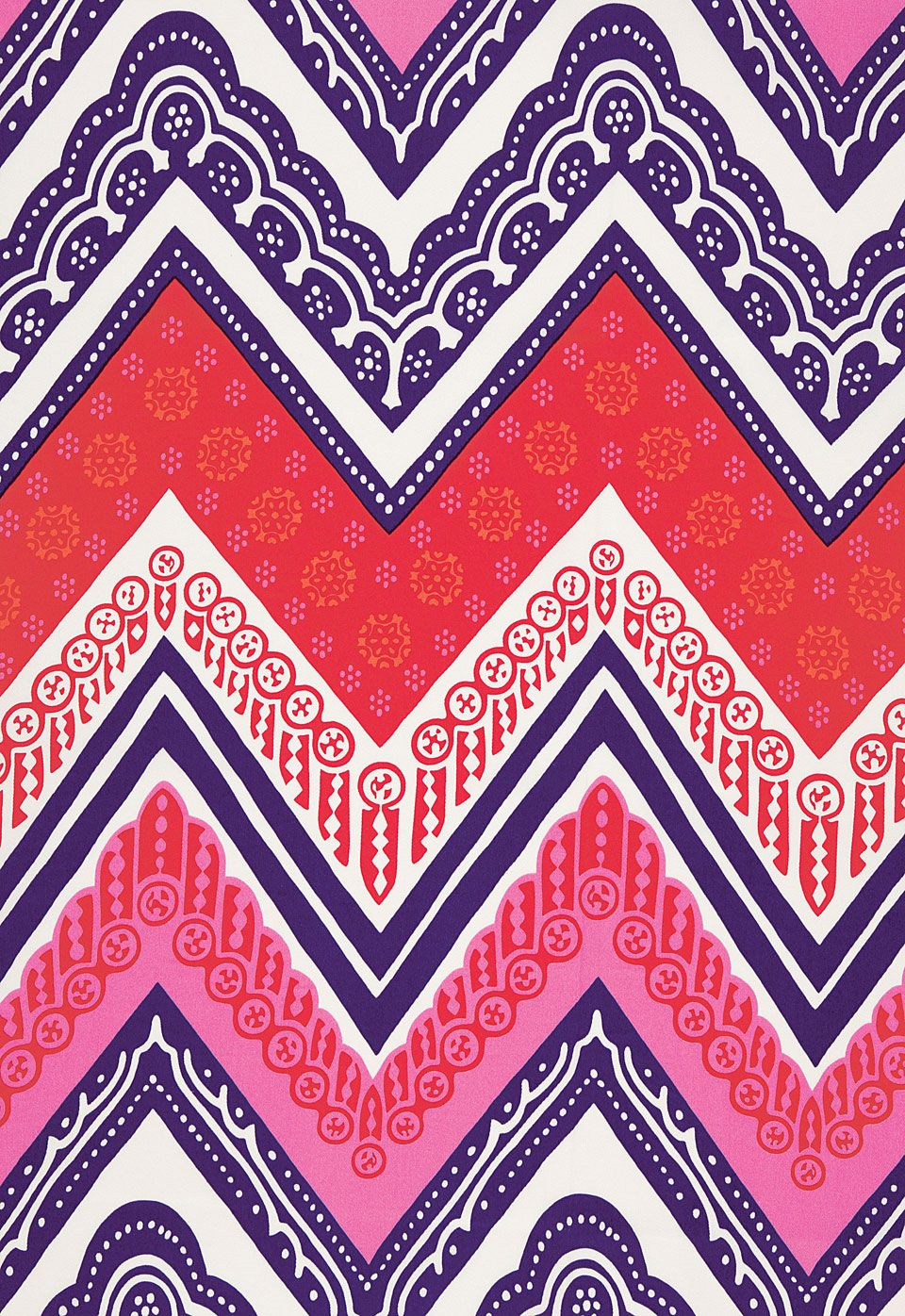 Bold colors and arabesque patterns make this red, pink, purple ...