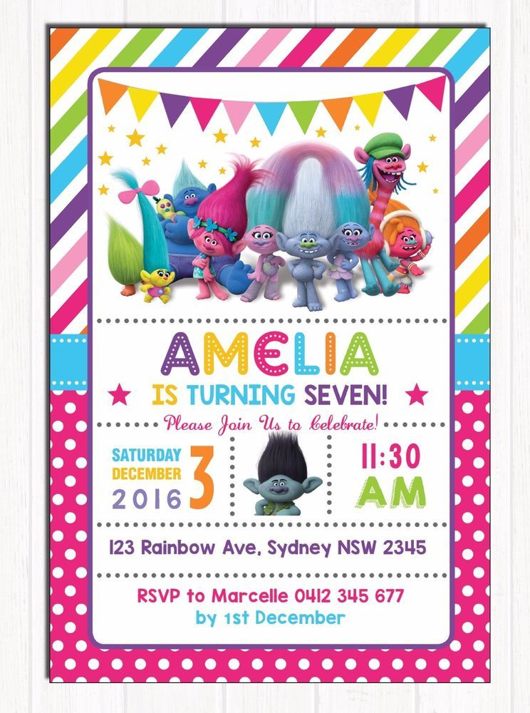 Trolls Birthday Invitations Kids Party Supplies Cute Rainbow Photo ...