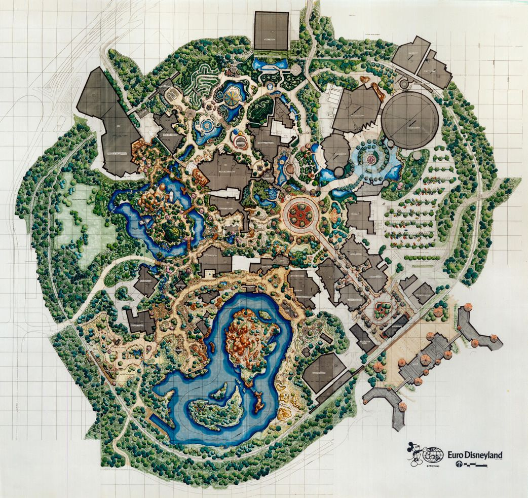 Map Of Euro Disneyland Before Opening: Note The Subtle