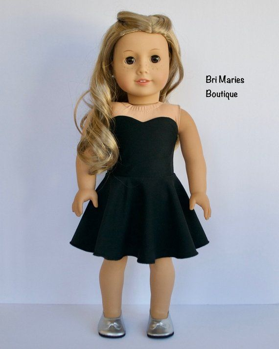 Strapless Black Dress - 18 inch doll clothes #girldollclothes