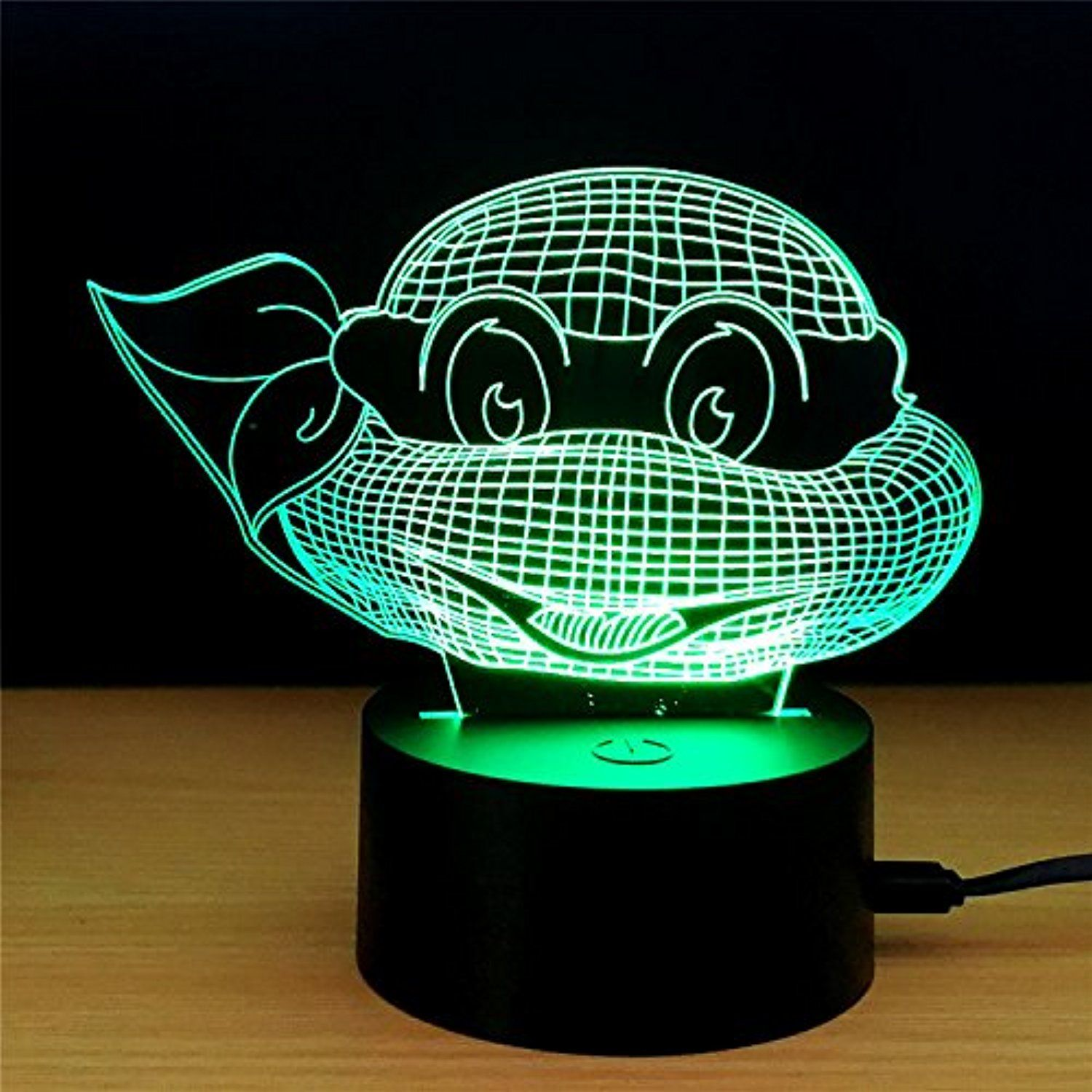 3d Led Illusion Lamp Ninja Turtle 3d Visualization Illusion Led Table Light With Touch Button 7 Colors Change Touch Desk La With Images Night Light Light Table Kids Room