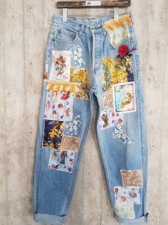 Fall and winter washed denim Unique Vintage 80s denim skirt with embroideries and embellishments elastic waist size S