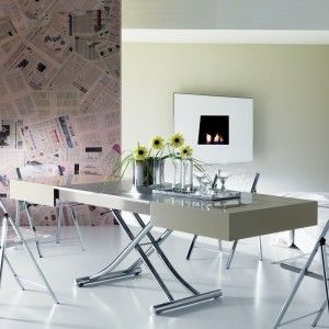 One Deko Box Expandable Coffee Dining Table Glass Top Dining